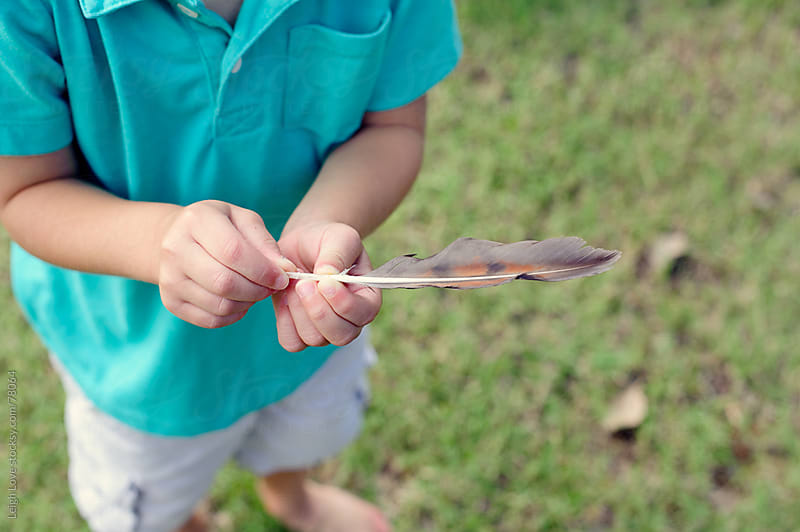 Young Boy in Blue Shirt Holds a Feather by Leigh Love for Stocksy United