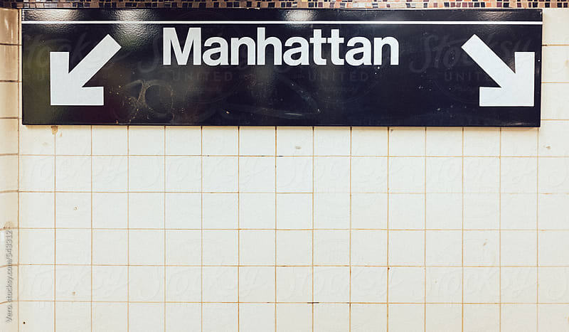 Manhattan sign in the subway by Good Vibrations Images for Stocksy United