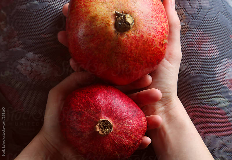 two pomegranates in female hands by Sonja Lekovic for Stocksy United