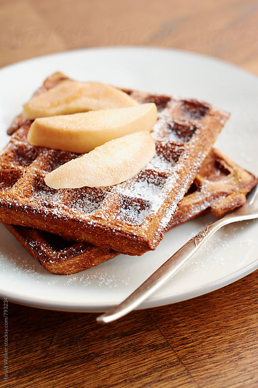 Gingerbread Polenta Waffles with Pears by Harald Walker for Stocksy United