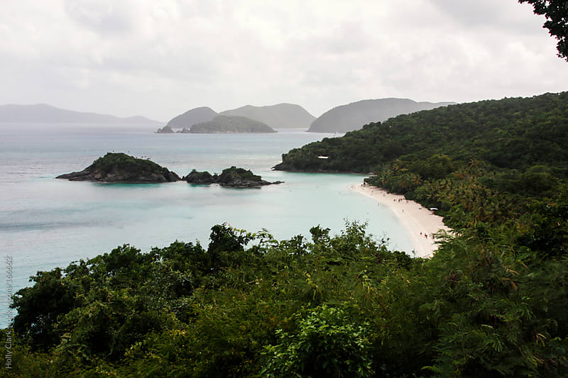 Stormy clouds gather overlooking Trunk Bay on St. John in the U by Holly Clark for Stocksy United