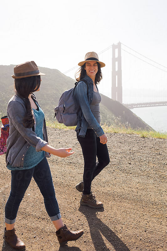 Hiking along with the Golden Gate Bridge. by Lucas Saugen for Stocksy United