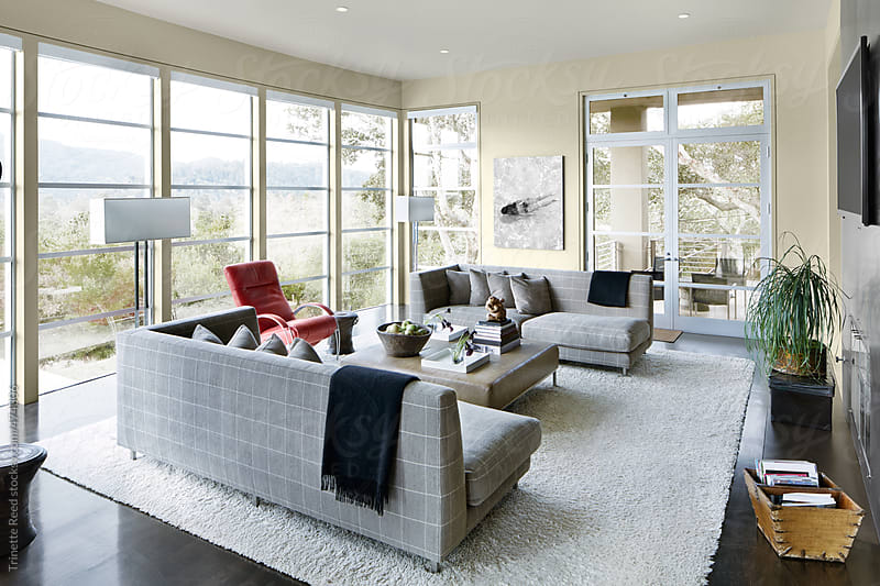 Living room of modern design luxury home by Trinette Reed for Stocksy United