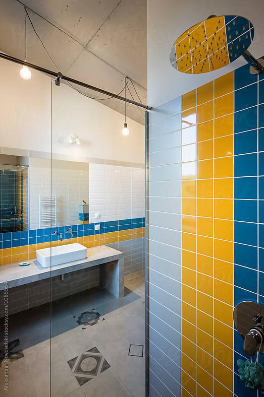 Contemporary bathroom by Aleksandar Novoselski for Stocksy United