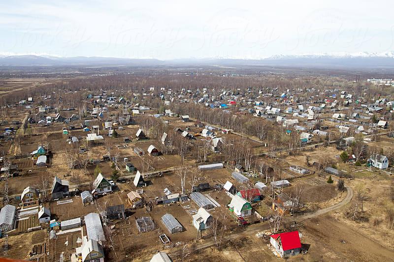 Aerial view of a Kamchatka town in winter by Mihael Blikshteyn for Stocksy United