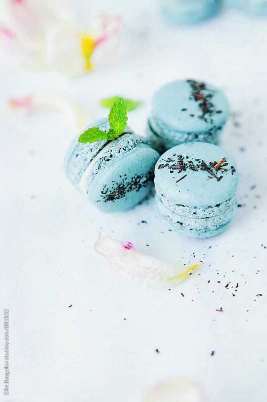 Earl grey macarons by Ellie Baygulov for Stocksy United