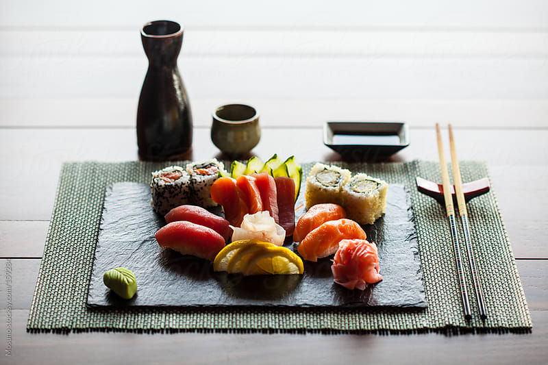 Sushi and Sake in Japanese Restaurant by Mosuno for Stocksy United