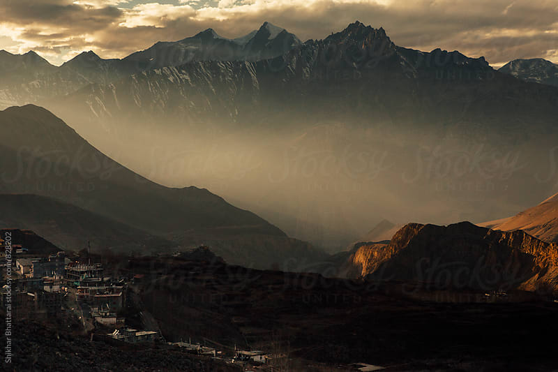 The drama of light and shadows high up in the mountains. by Shikhar Bhattarai for Stocksy United