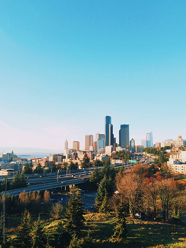 Seattle city skyline  by Jesse Morrow for Stocksy United