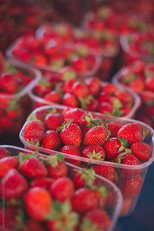 Fresh strawberry's at a local market by Helen Sotiriadis for Stocksy United