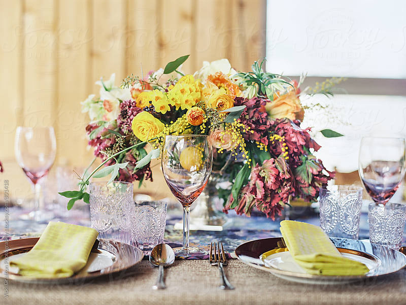 Spring Table Setting  by Vicki Grafton Photography for Stocksy United