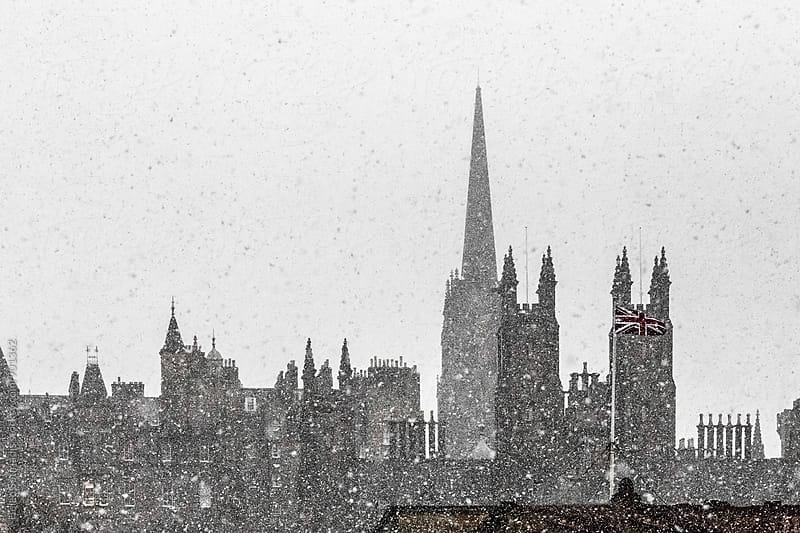 Snowy Edinburgh Skyline by Helen Sotiriadis for Stocksy United