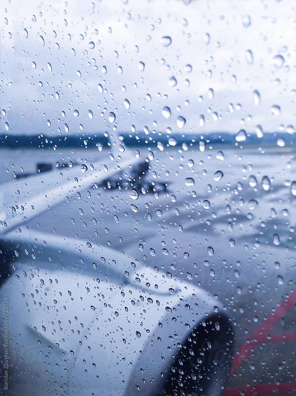 Raindrops On Aeroplane Window by Borislav Zhuykov for Stocksy United