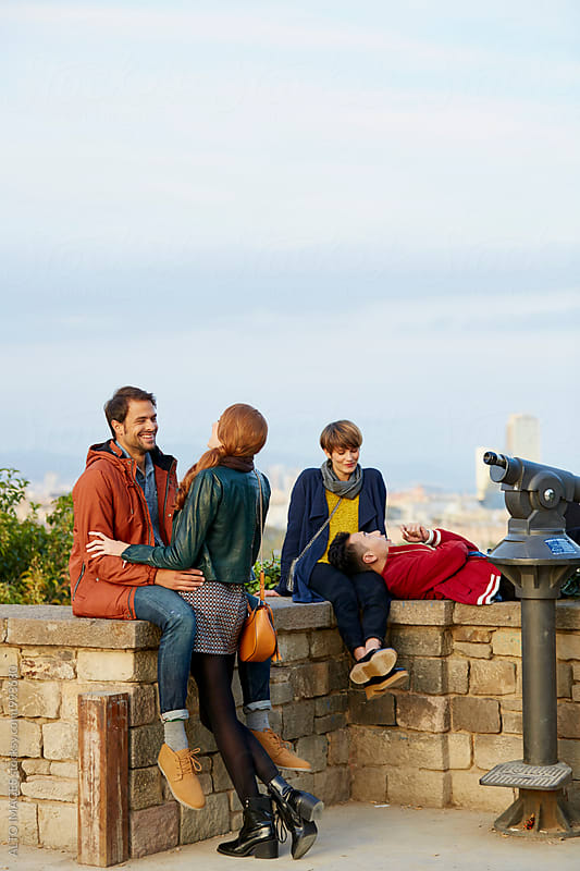 Couples Spending Leisure Time At Observation Point by ALTO IMAGES for Stocksy United