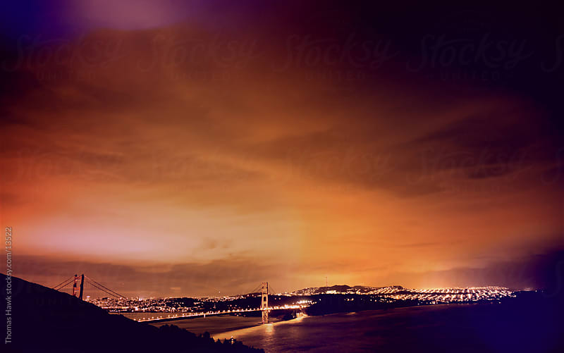 Golden Gate Bridge sunset from afar by Thomas Hawk for Stocksy United
