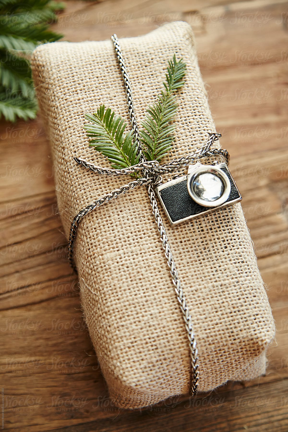 Hipster Gift With Burlap Wrapping Paper And Vintage Camera
