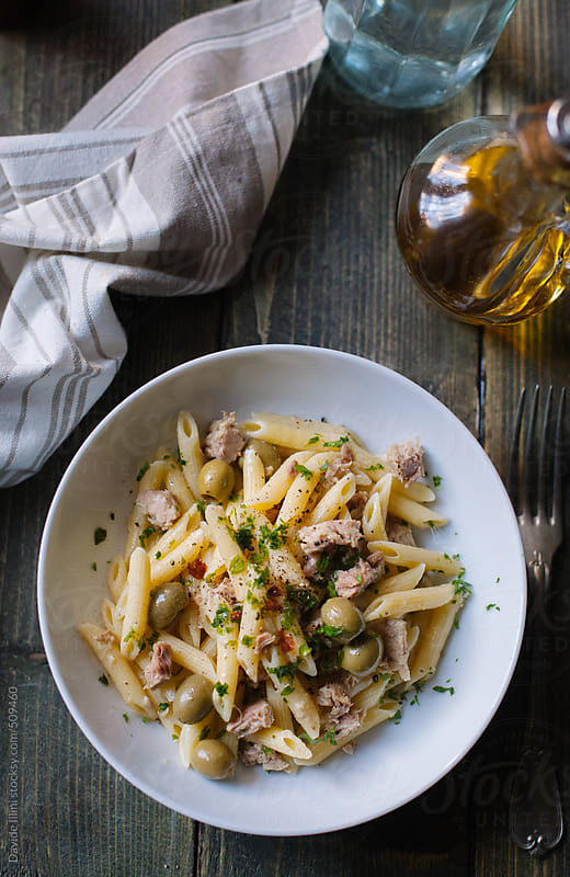 Pasta with tuna and olives by Davide Illini for Stocksy United