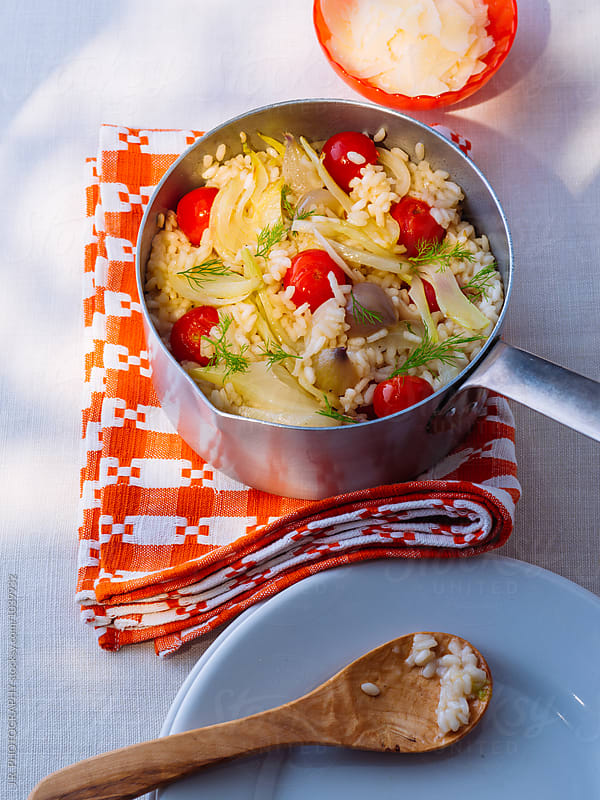 Risotto with fennel and tomato by J.R. PHOTOGRAPHY for Stocksy United