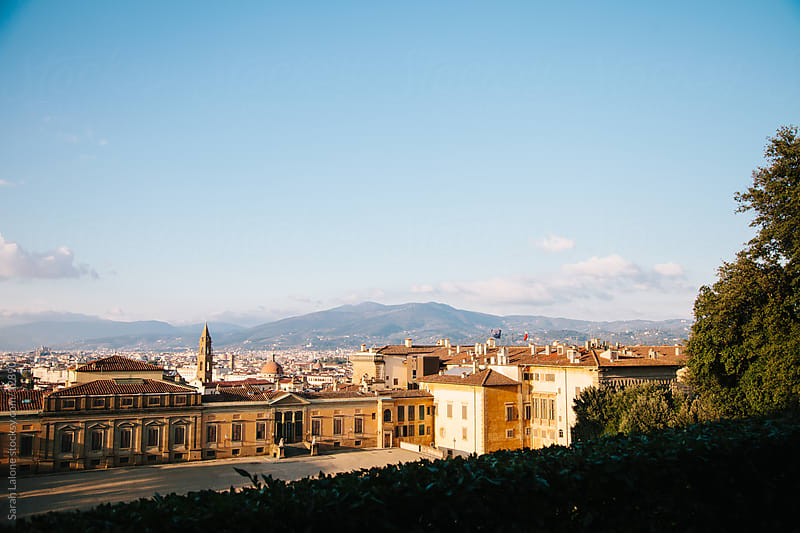 view over top the pitti palace in florence by Sarah Lalone for Stocksy United