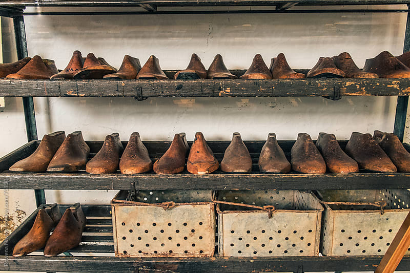 Colection of Old Antique Wooden Shoe Forms by Rowena Naylor for Stocksy United