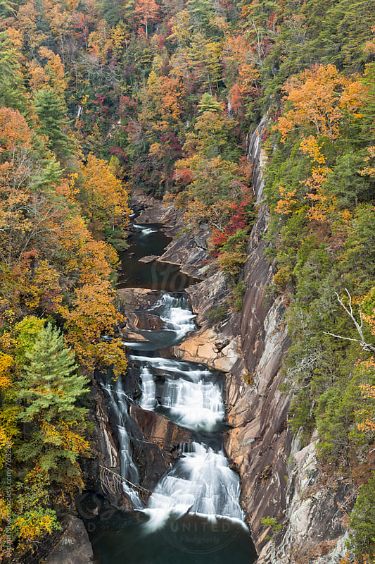 Looking down into a river gorge in autumn by Adam Nixon for Stocksy United