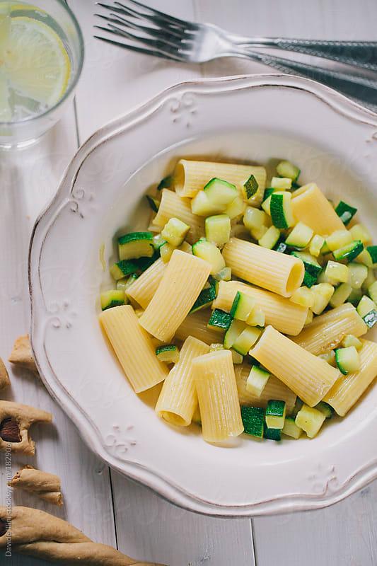 Macaroni with zucchini by Davide Illini for Stocksy United