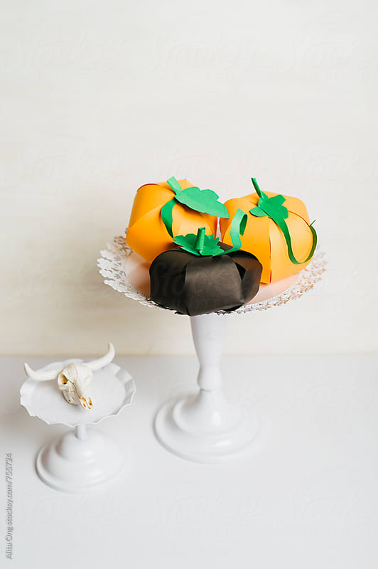 DIY paper pumpkins by Alita Ong for Stocksy United