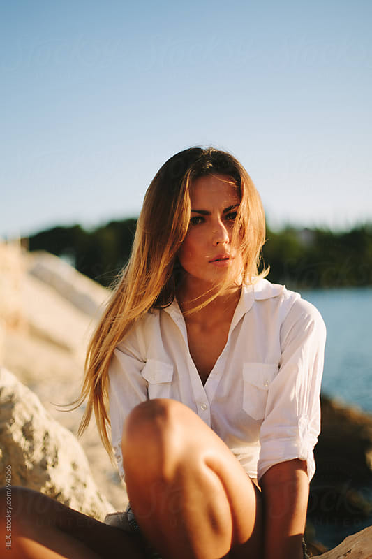 Beautiful Mediterranean Woman Portrait at the Sea by HEX. for Stocksy United