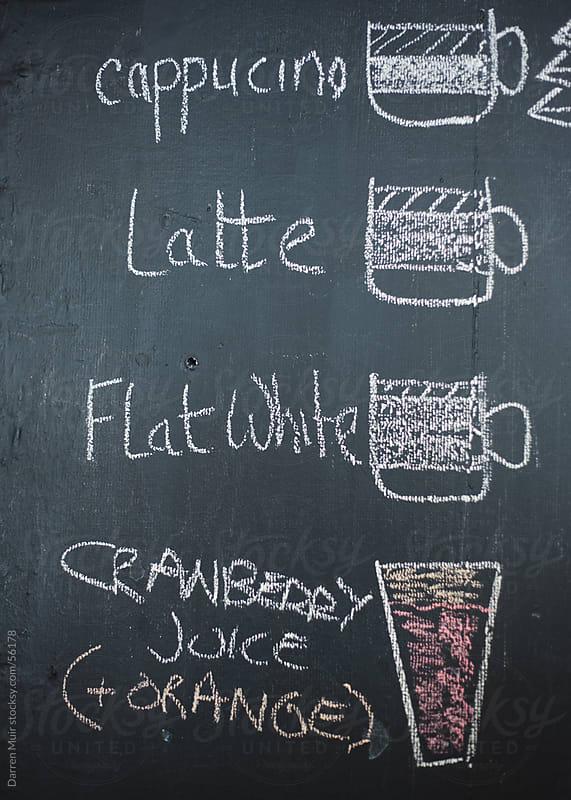 Chalkboard advertising drinks. by Darren Muir for Stocksy United