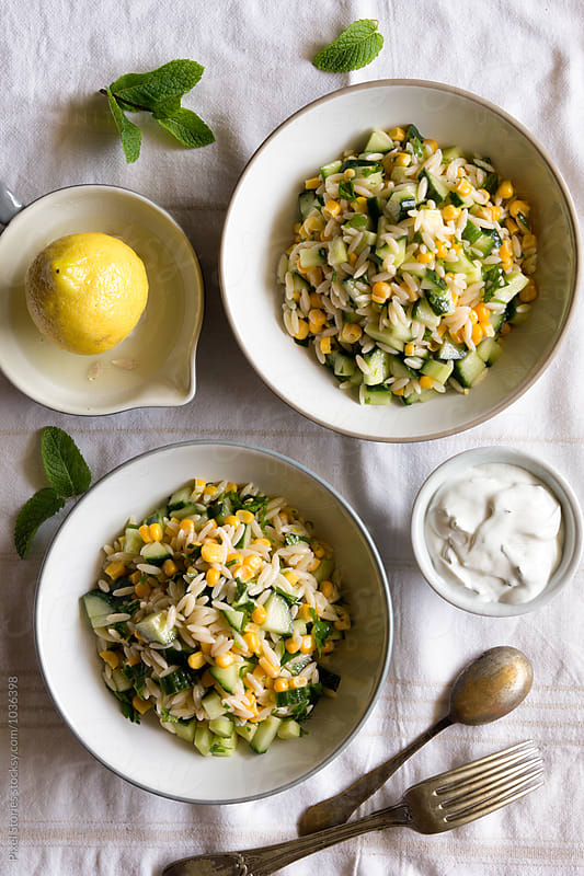 Summer orzo salad by Pixel Stories for Stocksy United