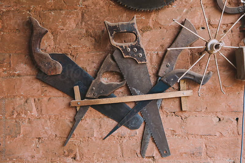 Tools inside a carpentry shop. by Shikhar Bhattarai for Stocksy United
