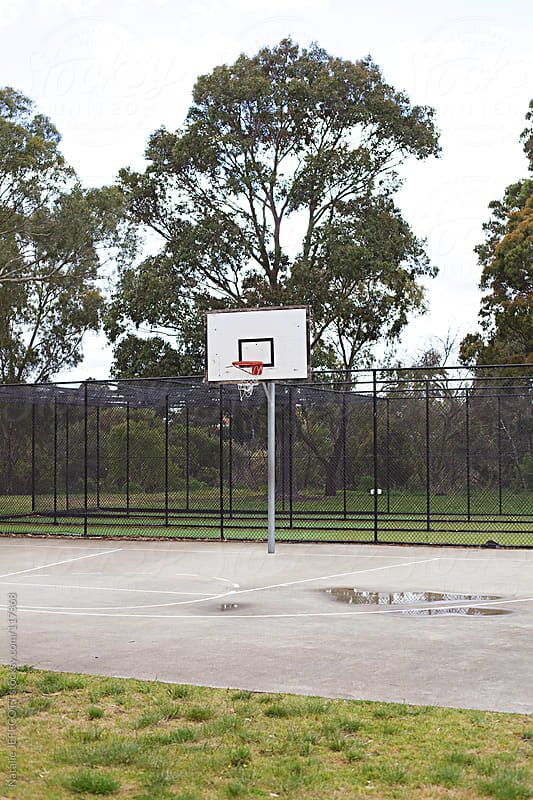 outdoor basketball court at the local park with gumtrees in the background by Natalie JEFFCOTT for Stocksy United