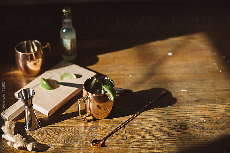 Moscow Mules in Mugs with Ingredients by Rachel Gulotta Photography for Stocksy United