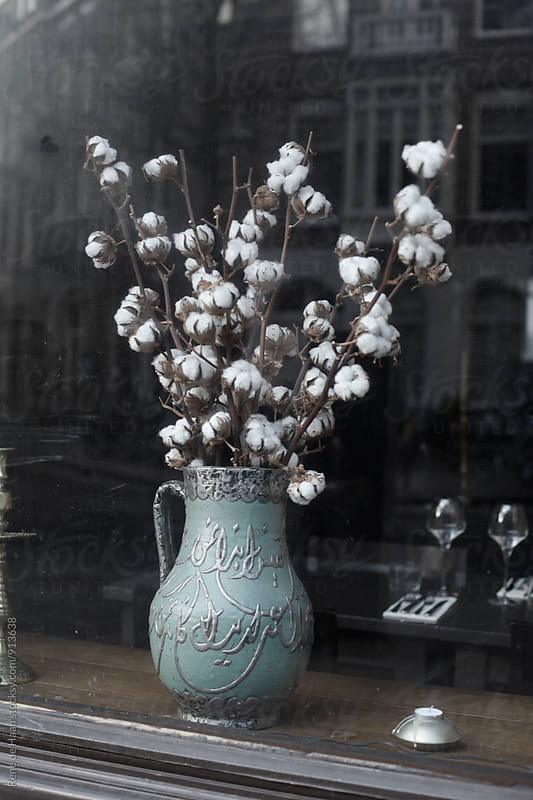 vase with flowers in shop window by Rene de Haan for Stocksy United