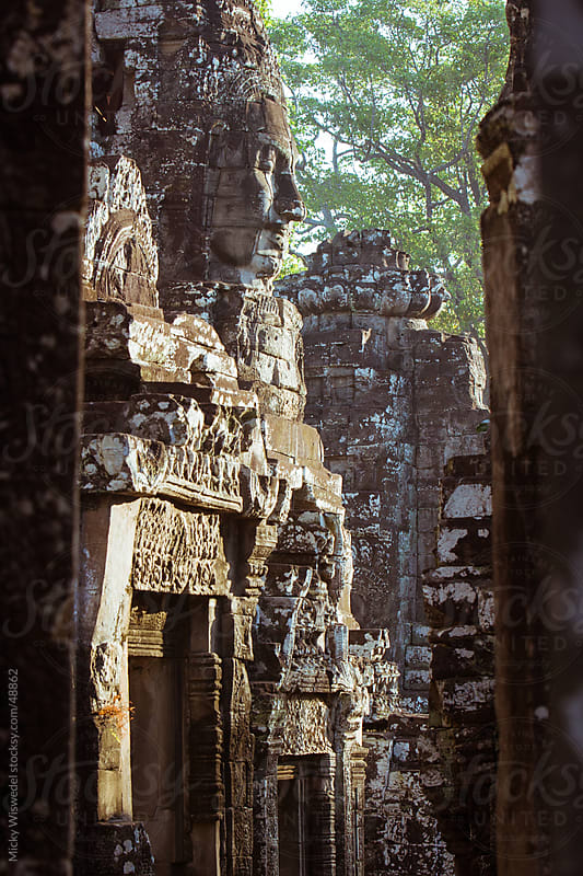 Buddha head carving at Bayan Temple, Angkor Wat by Micky Wiswedel for Stocksy United