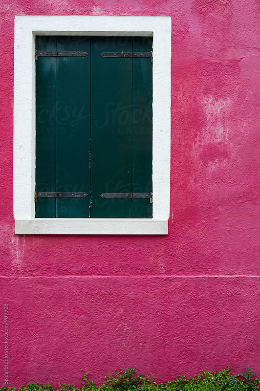 Green window on a pink house in Burano, Italy by Bisual Studio for Stocksy United