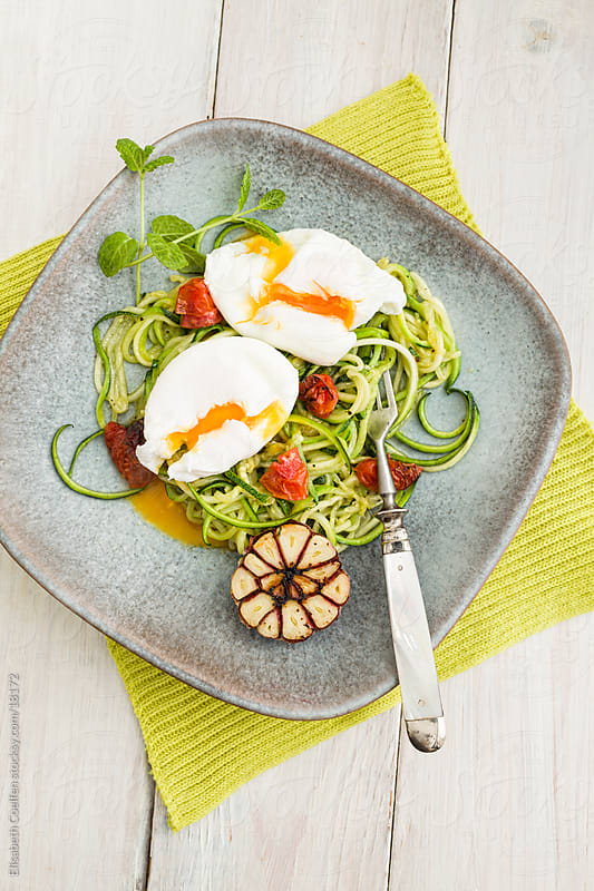 Plate with a healthy stir fry with zucchini, a half garlic bulb, cherry tomatoes, some mint leaves and two poached eggs by Elisabeth Coelfen for Stocksy United