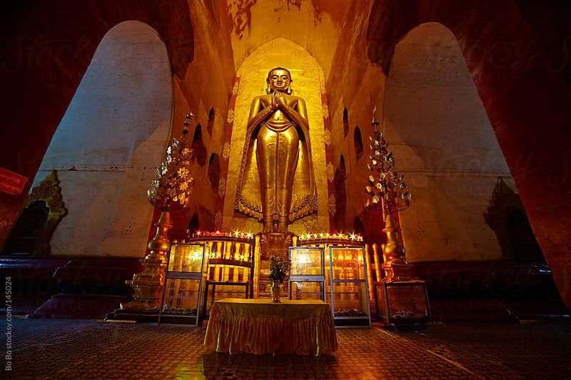 inside of Buddhist temple in Bagan Myanmar  by Bo Bo for Stocksy United
