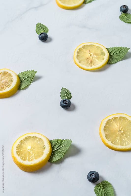 Flavor Pattern With Lemon, Mint and Blueberries by suzanne clements for Stocksy United