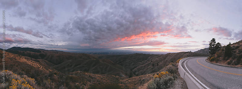 Sunset mountain road panorama by Dylan M Howell Photography for Stocksy United