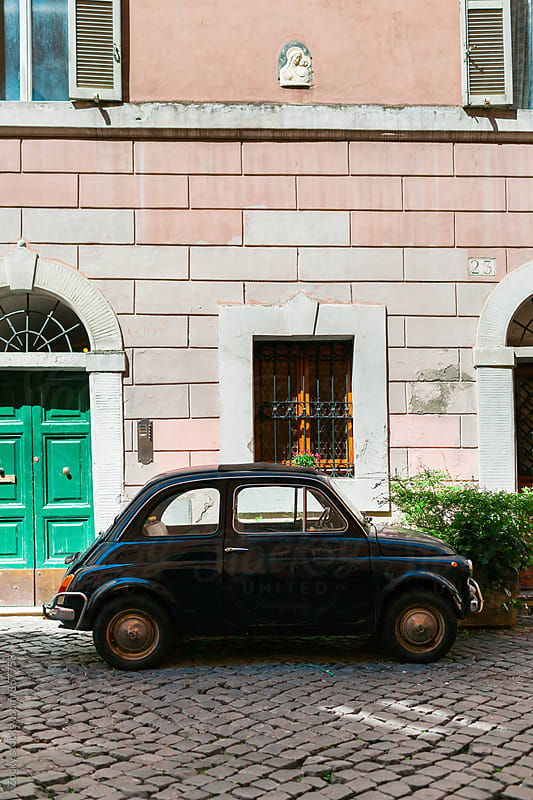 Black Fiat 500 Parked in Rome by Zocky for Stocksy United