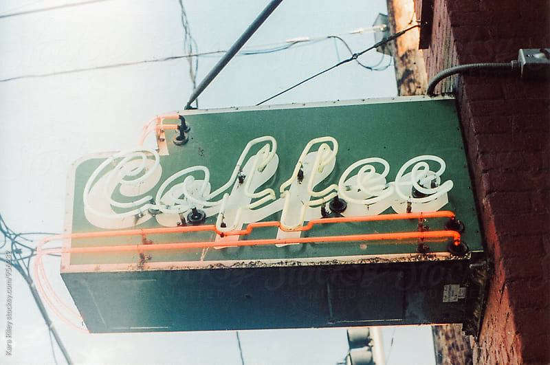 Vintage Neon Coffee Sign by Kara Riley for Stocksy United