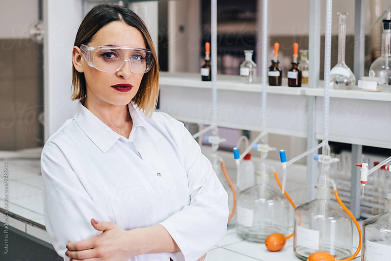 Beautiful Female Chemist Posing in Her Lab by Katarina Radovic for Stocksy United