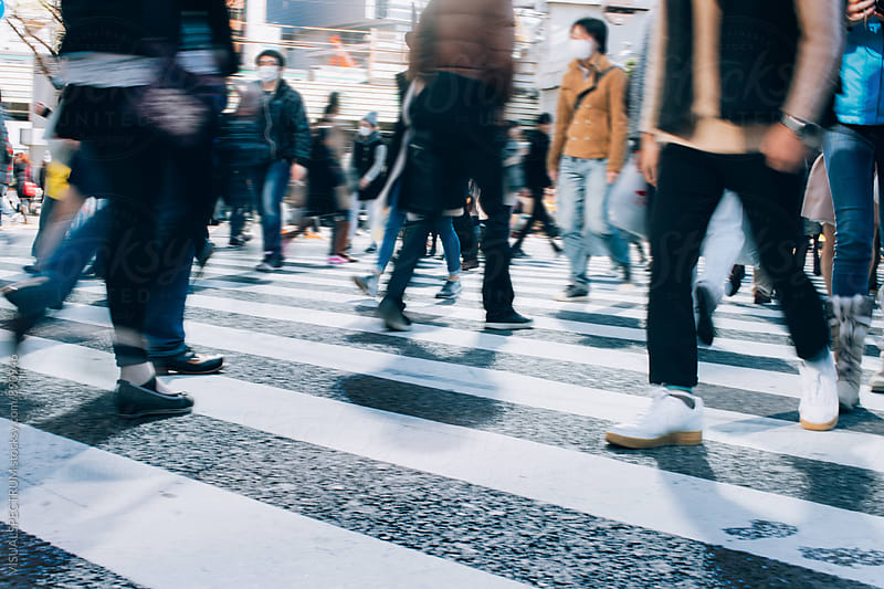 Tokyo - Many People Crossing Shibuya Crossing by Julien L. Balmer for Stocksy United
