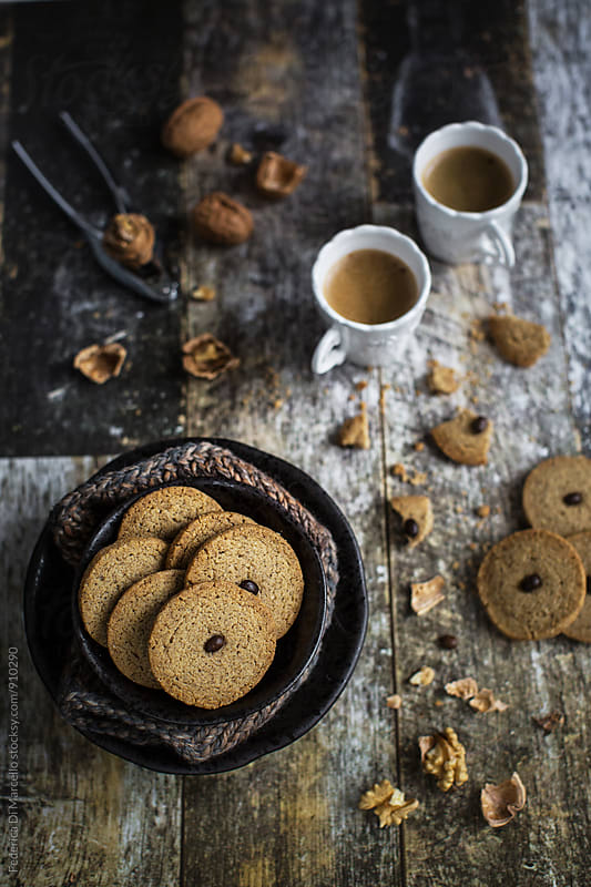 Walnut coffee cookies by Federica Di Marcello for Stocksy United