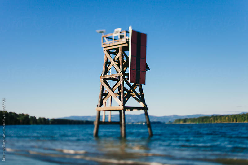 Tower in water by luke + mallory leasure for Stocksy United