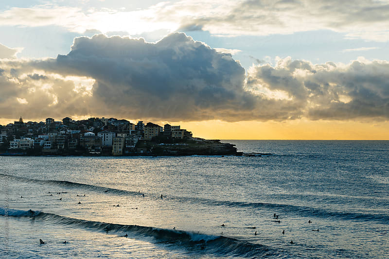 Early morning surfers on Bondi Beach by Jen Grantham for Stocksy United