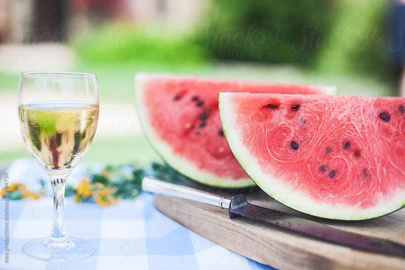 Summer dessert, fresh watermelon. by mee productions for Stocksy United