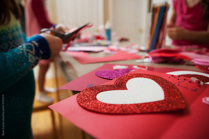 Valentine: Red Glitter Heart On Counter by Sean Locke for Stocksy United