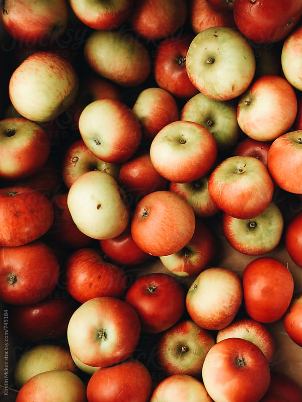 Overhead image of apples by Kirstin Mckee for Stocksy United